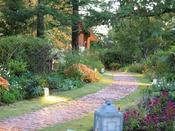 【敷地内の様子】夕暮れ時の森のガーデン。小路はライトアップされ、おとぎ話の中にいるようです♪