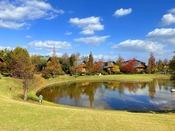 【秋深まる森のガーデン】木々の色づきが青空によく映えます。