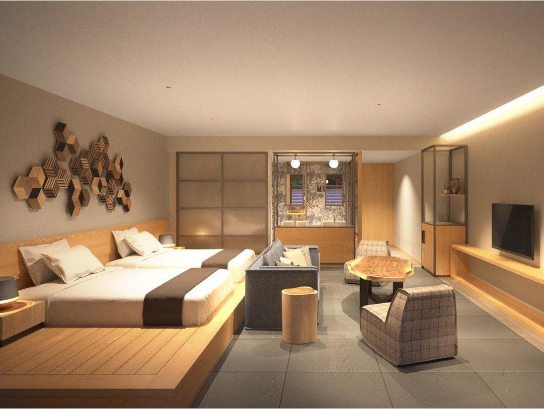 2020年4月下旬オープン予定の新しい露天風呂付き客室です。本客室だけに設置されたワイドダブルベッドで日常を忘れる「最高の霧島癒し旅」をお楽しみください。※ベッドマットレスはシモンズ制を使用。(ベッド2台 追加布団1組で最大3名様までご宿泊可能)
