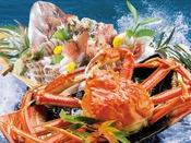 ズワイガニをドーンと1杯まるごと♪鯛の荒磯舟盛もついて日本海の味覚をまるかじり♪