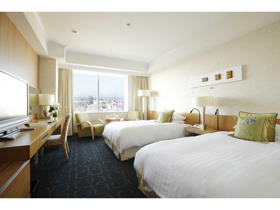 リュクスツイン・31平米。26階、28階に位置する高層階のお部屋。金沢の街並み、夜景をお楽しみいただけます。