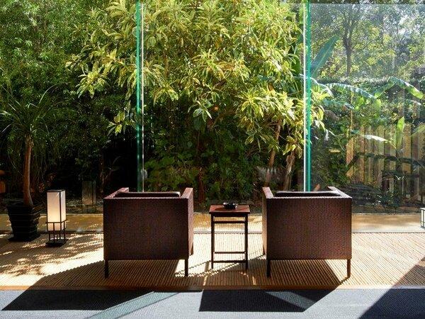【ラウンジ】薩摩特有の南国系植物が窓いっぱいに広がる空間で、お客様に人気の高いスペースです。