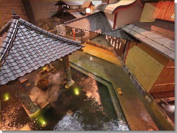 【元禄風呂】広々と開放感あふれる元禄風呂。大小様々なお風呂をたのしむことができますお楽しみ下さい♪
