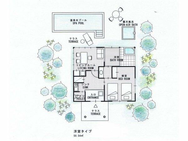 ◆ 温泉水プール&露天風呂付き洋室 ◆間取り