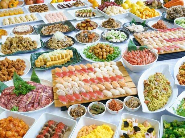 【夕食バイキング(イメージ)】ローストビーフ、寿司、スイーツなど約60種食べ放題の和洋中バイキング!