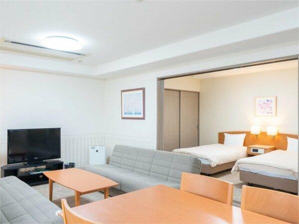 【和洋室】ツインベッド付のお部屋。ファミリーやグループのお客様にお勧めです☆