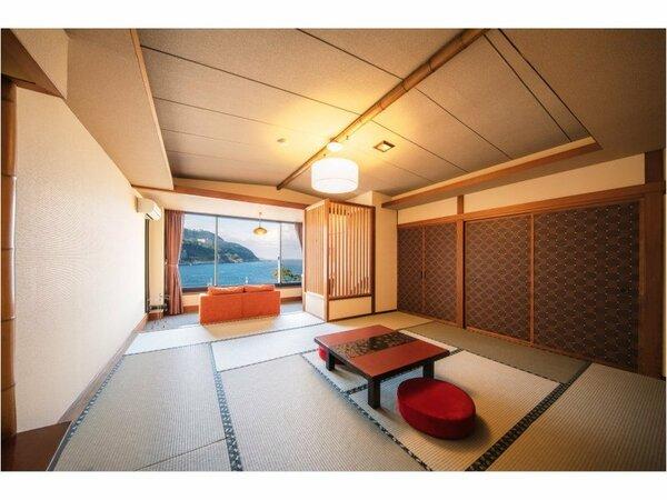 和室12畳大きな窓と展望風呂付き客室