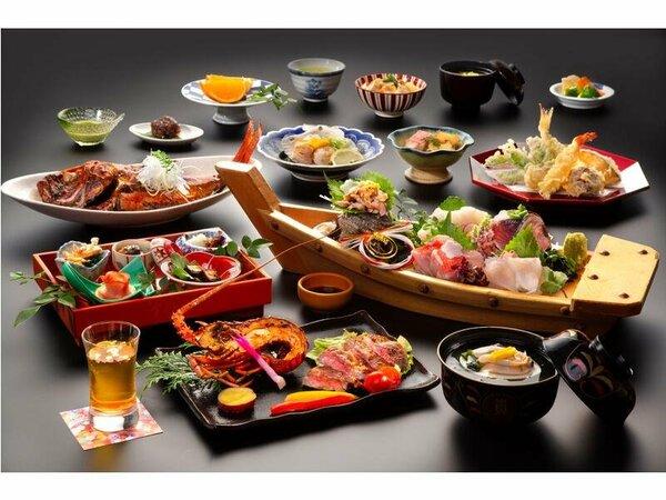 料理の一例(イメージ)金目鯛と鮑お飯蒸し、金目鯛の煮付けや伊勢海老と黒毛和牛など厳選素材に舌鼓。