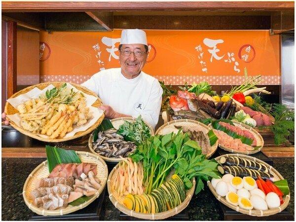【天ぷら自慢】15種以上の天婦羅を揚げたてで食べ放題!オーダー式で席までお届致します。