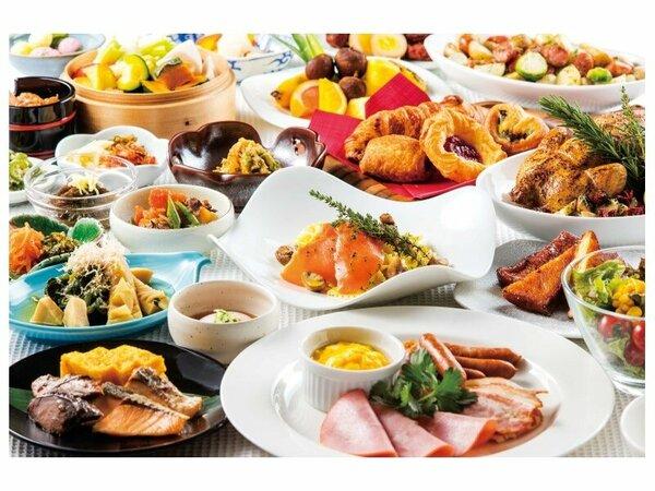 バランスの取れた和洋食の朝食ブッフェ(イメージ)