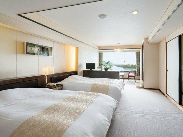 90平米の露天風呂付特別室(和室10畳+ツインベッド)<最上階6階>
