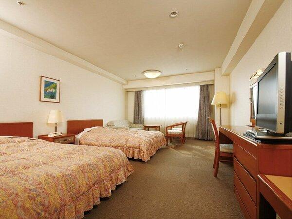 全室ゆとりの29平米。ゆったりベット2台と3名様利用の場合はソファーベット(シングル)をご用意