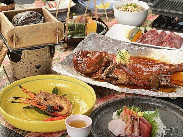 2020 春 三大味覚/お手頃に伊勢海老、鮑、金目鯛の三大味覚が堪能できる和会席膳一例。