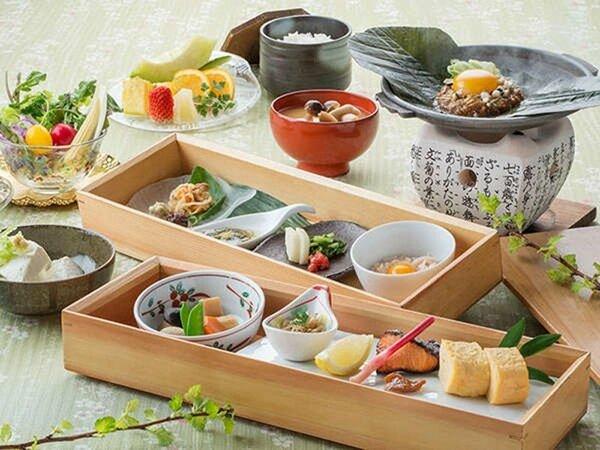 【朝食】 当館オリジナル朴葉味噌や毎朝手作りするいなか豆腐など、飛騨の幸をたっぷりと♪