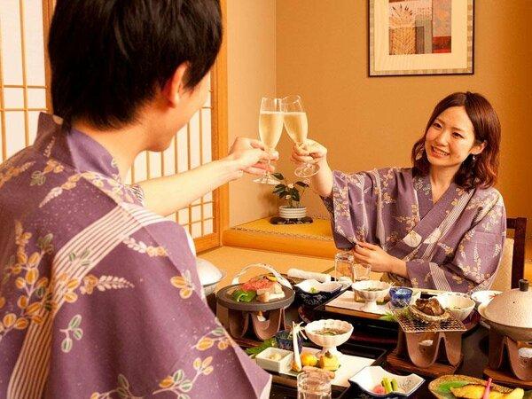 お誕生日や結婚記念日でご予約だとシャンパン(ハーフボトル)をプレゼント