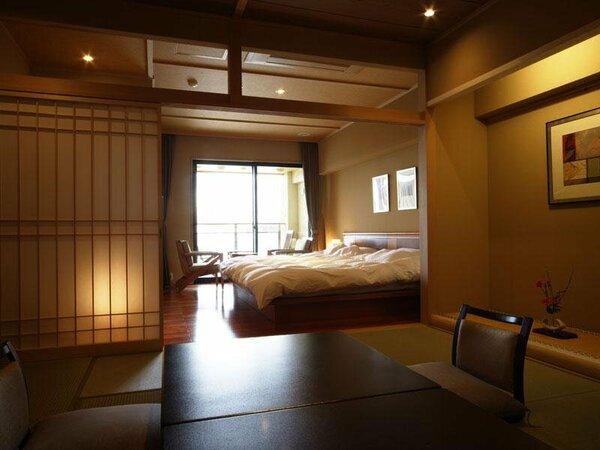 露天風呂付スイート【風の庭】2005年4月OPEN和室とベッドスペースが融合和モダンの露天風呂付客室