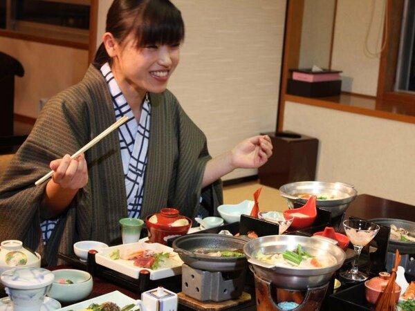 【お部屋食】は周りを気にせずに食べられるので人気です♪カップルやご夫婦、小さなお子様連れにも。