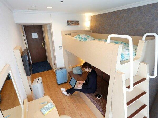 ダブルデッカールーム(2段ベッド)は、ビジネス利用にも最適です