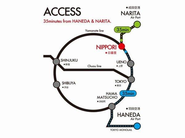 都内主要スポットに30分圏内・浅草・上野・東京駅・東京ドーム・お台場にも大変便利・空港アクセスも抜群