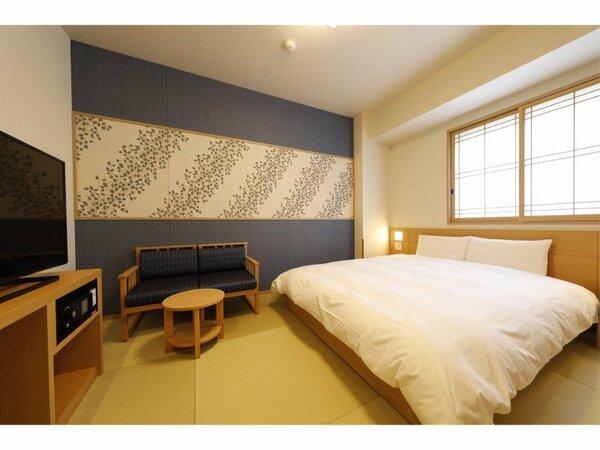 ◆クイーンルーム(18平米)客室は畳敷きにてご用意サータ社製ベッド(160cm×195cm)