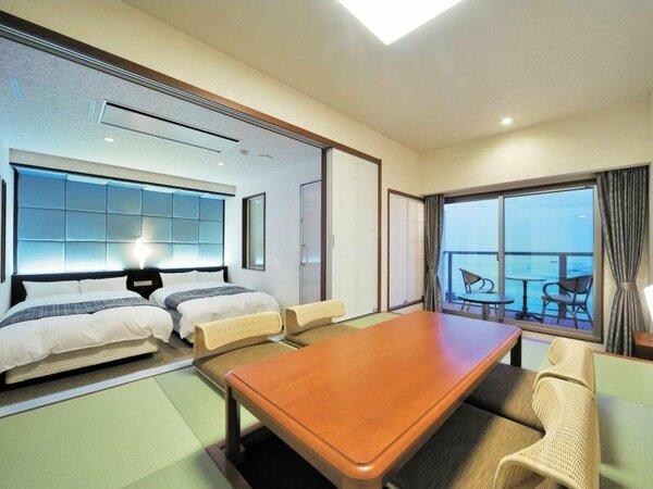 西館4階(リゾート)和室6畳+ツイン オーシャンビューバルコニー付