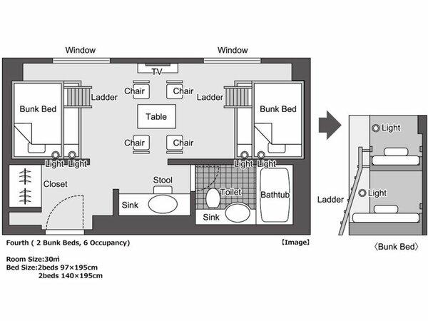 バンクベッド<2段ベッド×2台>(間取り図)