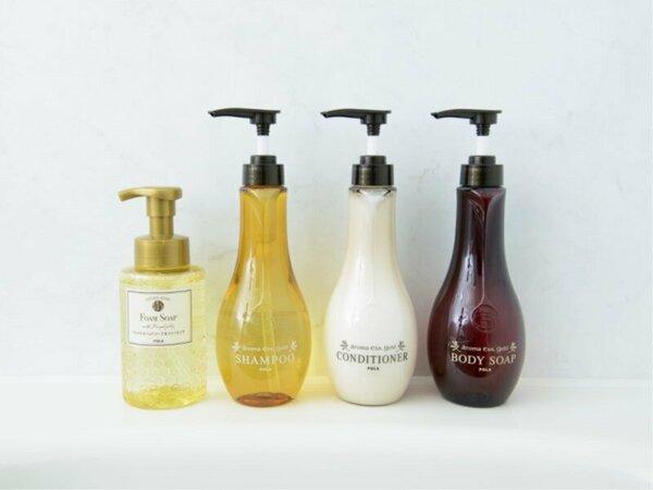 【浴室シャンプー類(イメージ)】POLAアロマエッセゴールドのシャンプー類と泡ハンドソープ