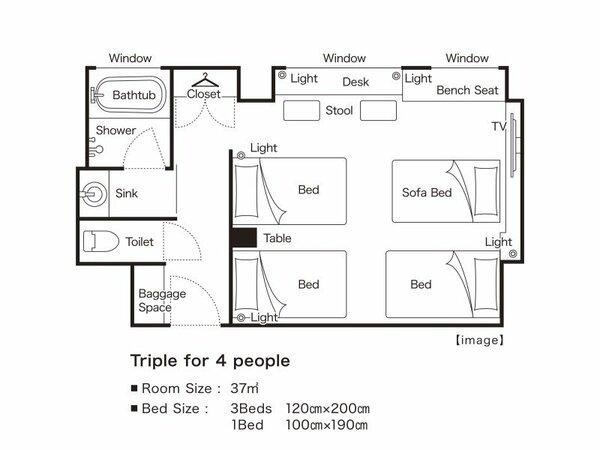 トリプル4名様利用平面図