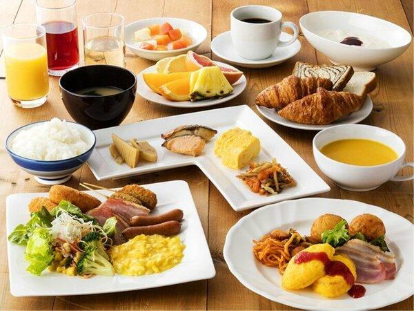 朝食バイキング盛り付け一例 館内2階レストランにてご提供  皆様の朝をサポートいたします。