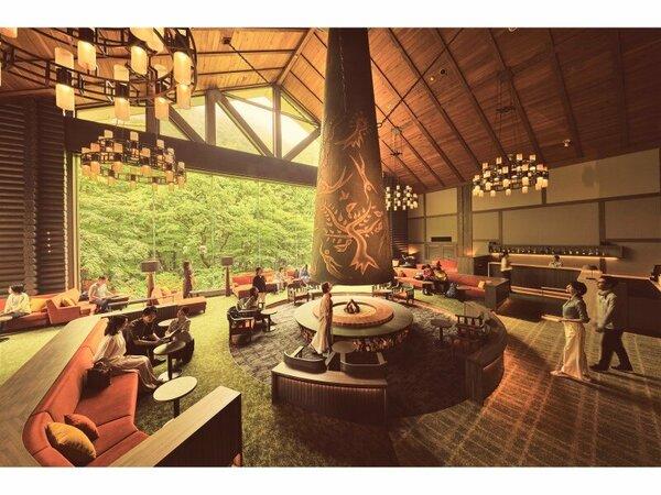 【ロビー森の神話】岡本太郎作の巨大暖炉「森の神話」が印象的な寛ぎの空間