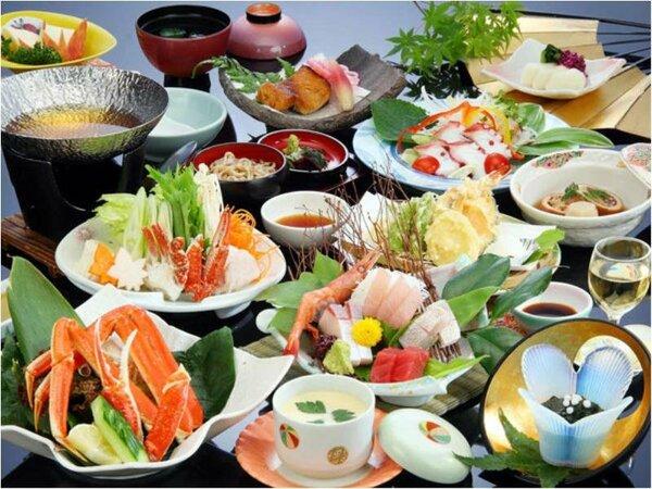 ご夕食は海の幸満載の会席料理(写真はイメージです)