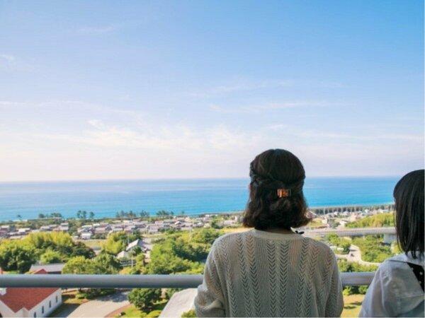 【海側景観客室イメージ】太平洋と土佐くろしお鉄道(通称:ごめん・なはり線)をご覧いただくことが出来ま