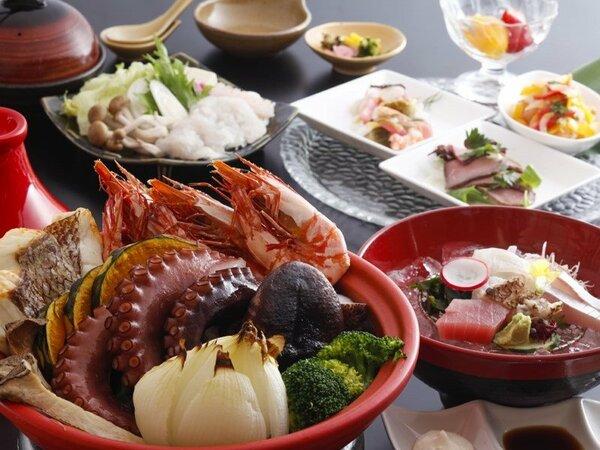 美味しそうな食材を豪快に!淡路蛸・鳴門鯛・海老のヴァプール 淡路玉葱と彩り野菜とともに≪料理イメージ