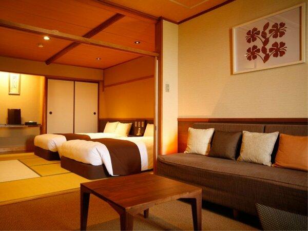 和室ベッドルームと、海側にリビングを配したツインルーム