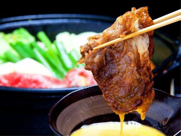 すき焼き(淡路産黒毛和牛)リブロースより赤身が多い霜降り肉で風味が良く柔らかい。