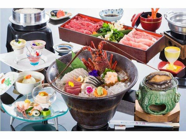 料理の一例(イメージ)伊勢海老・鮑付会席(基本)※お造り・お肉は2名様分