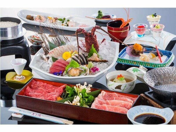 料理の一例(イメージ)伊勢海老のお造り付会席(基本)※お造り・お肉は2名様分
