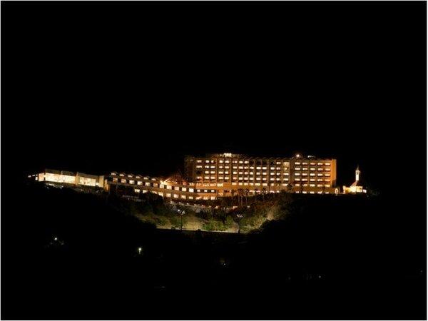 夜になったら高台に光るこの建物を目指してください(恋路ヶは浜側より)