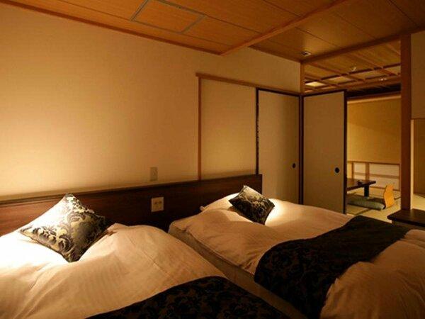 """【花月館 -ベッド付和室-】サータ社製マットレスが""""極上の眠り""""へ誘います"""
