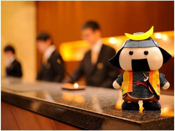 仙台のご当地ゆるキャラ「むすび丸」もお出迎え。