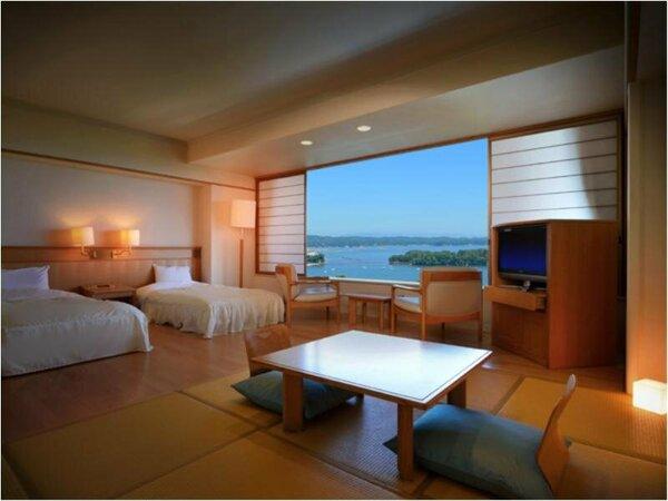 和洋室 海側(40.69平方メートル) 館内アクセスが良いのがポイント。当館一番人気のお部屋タイプです。