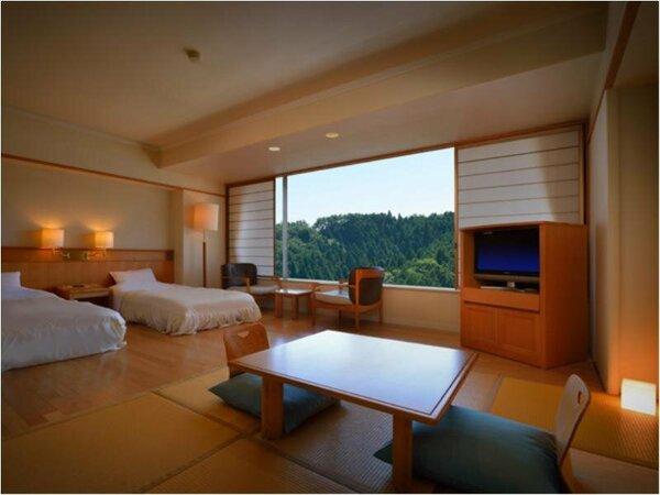 アネックス山側(40.69平方メートル) 館内アクセスが良いのがポイント。当館一番人気の和洋室タイプです。