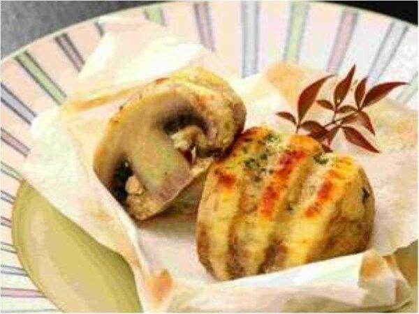 地元食材(舟形町特産)「ジャンボマッシュルームの香味焼き」