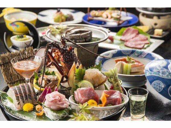 料理の一例(イメージ)伊豆の味覚「伊勢海老」「鮑」をご用意。※お造りは2名様分