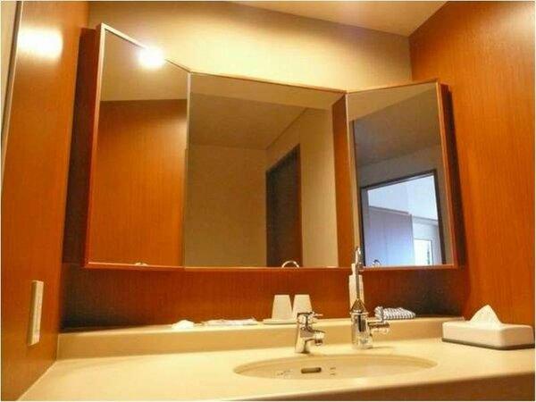 和洋室:ゆったりスペースの洗面エリア