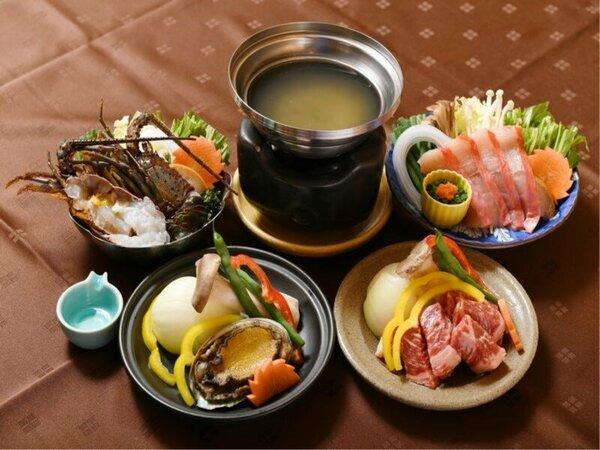 鮑・伊勢海老・金目鯛・和牛 メイン料理が選べる磯会席のチョイスはこの4種類から