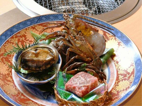 メインはこの3種から 【炭火会席人気NO.1】海鮮炭火焼 メインが鮑・牛・伊勢海老からチョイスプラン