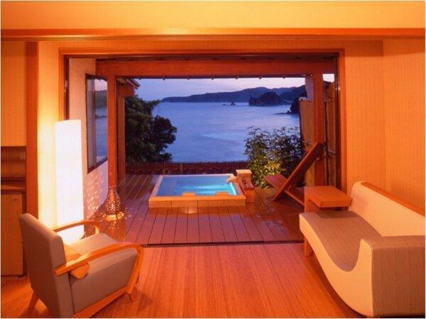 当館1番人気の角部屋露天風呂付き客室コーナースイート和室10畳(50m2)+伊豆石の専用露天 212号室