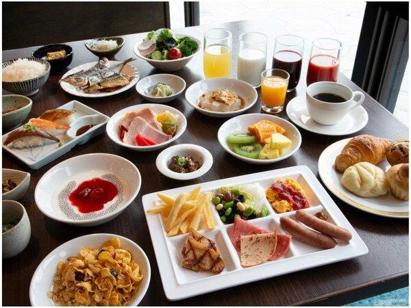 【朝食】安全・安心に配慮し、新しいスタイルでご提供している和洋ブッフェメニュー例