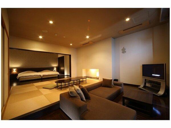 和洋室/晴の棟【和洋室Aタイプ】広めの約80平米/露天風呂付 ツイン寝室+10畳和室+10畳リビング